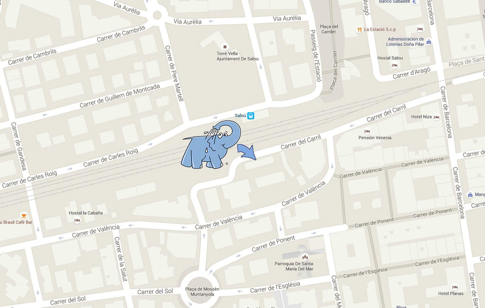 Mapa centro de lavado de coches Elefante Azul SALOU