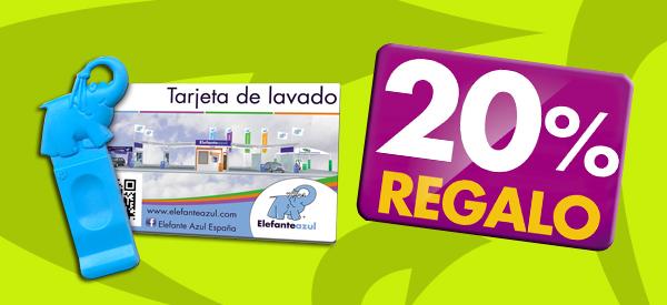 Regalo del 20% EXTRA en la recarga de tarjeta o llave de lavado